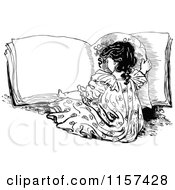 Clipart Of A Retro Vintage Black And White Girl Reading A Book Royalty Free Vector Illustration