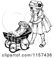 Retro Vintage Black And White Girl Pushing A Doll In A Stroller