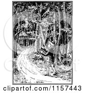 Clipart Of A Retro Vintage Black And White Boy Walking To A Cabin In The Woods Royalty Free Vector Illustration