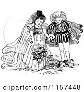 Clipart Of A Retro Vintage Black And White Prince And Princess Getting Married Royalty Free Vector Illustration by Prawny Vintage