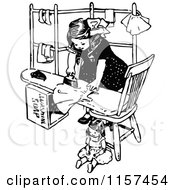 Clipart Of A Retro Vintage Black And White Ironing Girl Royalty Free Vector Illustration