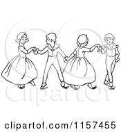 Clipart Of Retro Vintage Black And White Children Dancing Royalty Free Vector Illustration by Prawny Vintage