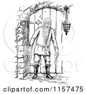 Clipart Of A Retro Vintage Black And White Bearded Man By A Door Royalty Free Vector Illustration
