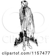 Clipart Of A Retro Vintage Black And White Man With A Cape Royalty Free Vector Illustration by Prawny Vintage