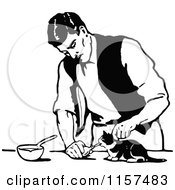 Clipart Of A Retro Vintage Black And White Man Feeding A Kitten Royalty Free Vector Illustration by Prawny Vintage