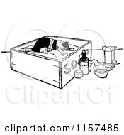 Clipart Of A Retro Vintage Black And White Resting Injured Cat Royalty Free Vector Illustration