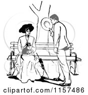 Clipart Of A Retro Vintage Black And White Courting Couple With A Cat At A Bench Royalty Free Vector Illustration by Prawny Vintage