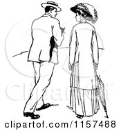 Clipart Of A Retro Vintage Black And White Courting Couple Strolling With A Cat Royalty Free Vector Illustration by Prawny Vintage