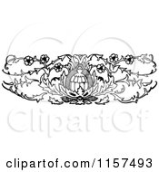 Clipart Of A Retro Vintage Black And White Ornate Floral Design Element 4 Royalty Free Vector Illustration by Prawny Vintage
