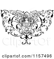Clipart Of A Retro Vintage Black And White Ornate Floral Design Element Royalty Free Vector Illustration by Prawny Vintage