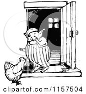 Clipart Of A Retro Vintage Black And White Chicken And Pig Talking Royalty Free Vector Illustration by Prawny Vintage