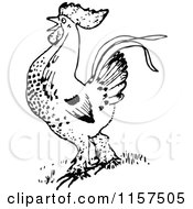 Clipart Of A Retro Vintage Black And White Rooster Royalty Free Vector Illustration