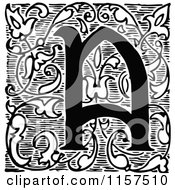 Clipart Of A Retro Vintage Black And White Ornate Letter A With Vines Royalty Free Vector Illustration by Prawny Vintage