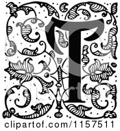 Clipart Of A Retro Vintage Black And White Ornate Letter T With Vines Royalty Free Vector Illustration by Prawny Vintage
