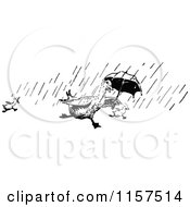 Clipart Of A Retro Vintage Black And White Ducks Running In The Rain With An Umbrella Royalty Free Vector Illustration by Prawny Vintage