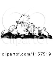 Clipart Of A Retro Vintage Black And White Pig Family Royalty Free Vector Illustration