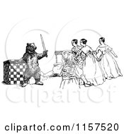 Clipart Of A Retro Vintage Black And White Bear Holding A Sword Against Women Royalty Free Vector Illustration by Prawny Vintage