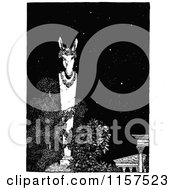 Clipart Of A Retro Vintage Black And White Donkey Garden Statue At Night Royalty Free Vector Illustration