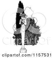 Clipart Of A Retro Vintage Black And White Horn Statue Royalty Free Vector Illustration