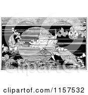 Clipart Of Retro Vintage Black And White Fish In The Sea Royalty Free Vector Illustration by Prawny Vintage