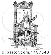 Retro Vintage Black And White Bug Kid On A Throne
