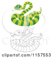 Cartoon Of A Green And Outlined Snake Royalty Free Illustration