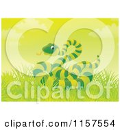Cartoon Of A Green Snake In Grass Royalty Free Illustration