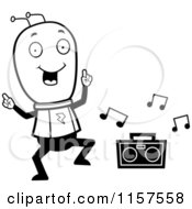 Cartoon Clipart Of A Black And White Space Alien Dancing To Music Vector Outlined Coloring Page