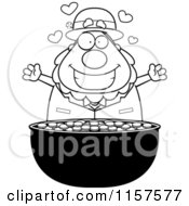 Cartoon Clipart Of A Black And White Chubby Leprechaun Over His Gold Vector Outlined Coloring Page by Cory Thoman