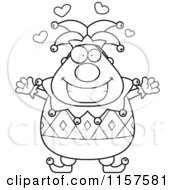 Cartoon Clipart Of A Black And White Pudgy Jester With Open Arms Vector Outlined Coloring Page