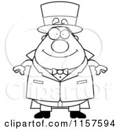 Cartoon Clipart Of A Black And White Plump Magician Standing And Facing Front Vector Outlined Coloring Page
