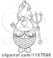 Cartoon Clipart Of A Black And White Plump Mermaid With A Trident Vector Outlined Coloring Page