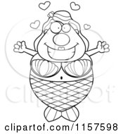 Cartoon Clipart Of A Black And White Loving Plump Mermaid With Open Arms Vector Outlined Coloring Page