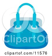 Womans Blue Purse Hand Bag Clipart Picture by AtStockIllustration