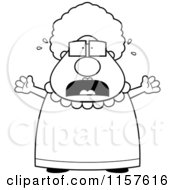 Cartoon Clipart Of A Black And White Stressed Old Granny Vector Outlined Coloring Page