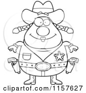 Cartoon Clipart Of A Black And White Chubby Female Cowgirl Sheriff Vector Outlined Coloring Page