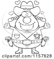 Cartoon Clipart Of A Black And White Plump Cowgirl With Hearts Vector Outlined Coloring Page