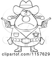 Cartoon Clipart Of A Black And White Plump Angry Cowgirl Holding Up Guns Vector Outlined Coloring Page