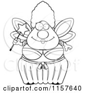Cartoon Clipart Of A Black And White Plump Fairy Godmother Vector Outlined Coloring Page by Cory Thoman