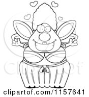 Cartoon Clipart Of A Black And White Plump Fairy Godmother With Open Arms Vector Outlined Coloring Page by Cory Thoman