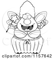 Cartoon Clipart Of A Black And White Plump Fairy Godmother With An Idea Vector Outlined Coloring Page by Cory Thoman