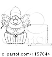 Cartoon Clipart Of A Black And White Plump Fairy Godmother With A Blank Scroll Vector Outlined Coloring Page