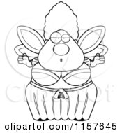 Cartoon Clipart Of A Black And White Plump Fairy Godmother Shrugging Vector Outlined Coloring Page by Cory Thoman