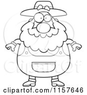Cartoon Clipart Of A Black And White Plump Senior Farmer Vector Outlined Coloring Page