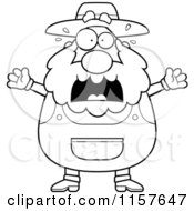 Cartoon Clipart Of A Black And White Stressed Old Farmer Vector Outlined Coloring Page