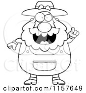 Cartoon Clipart Of A Black And White Plump Senior Farmer With An Idea Vector Outlined Coloring Page