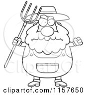 Cartoon Clipart Of A Black And White Plump Farmer Waving A Pitchfork In Anger Vector Outlined Coloring Page