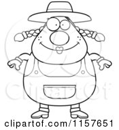 Cartoon Clipart Of A Black And White Plump Female Farmer Vector Outlined Coloring Page