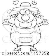 Cartoon Clipart Of A Black And White Plump Female Farmer With Open Arms Vector Outlined Coloring Page