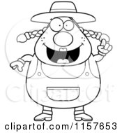 Cartoon Clipart Of A Black And White Plump Female Farmer With An Idea Vector Outlined Coloring Page